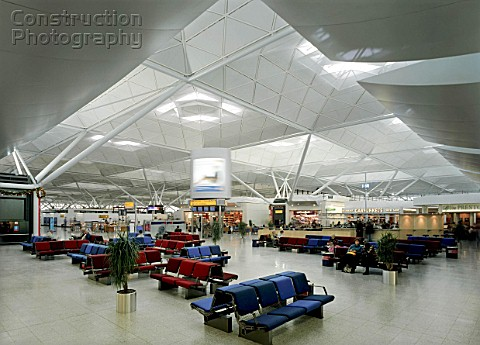 Waiting area in Stansted Airport terminal building United Kingdom Designed by Foster and Partners