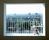 View across Notting Hill from modern residential apartment. London, United Kingdom.