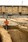 Archaeological dig prior to a large regeneration property development in Bermondsey square, South London. UK.