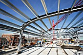 Steel frame on a roof of an office block under development.