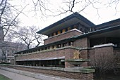 The Robie House, Chicago University, Illinois, USA. Designed by Frank Lloyd Wright.
