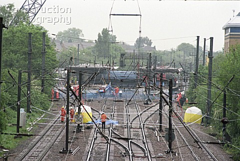 Approach to Potters Bar Station and scene of rail crash United Kingdom