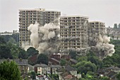 Explosive demolition of high rise flats. Sheffield, United Kingdom.