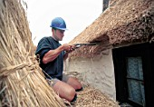 Thatching of a Somerset cottage, UK.