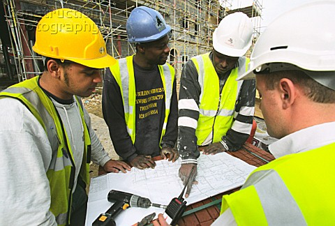 Workers looking a plans on a building site