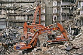 Demolition and site clearance using Fiat-Hitachi FH200-3 and FH400-2 crawler excavators.