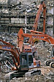 Demolition and site clearance using Fiat-Hitachi crawler excavators.