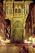 Strasbourg Cathedral at night. France