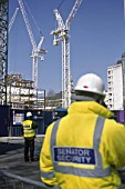 Security guards around a building site, City of London