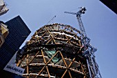 Construction of the Swiss Re Building, the Gherkin, London, United Kingdom. Designed by Norman Foster and Partners.