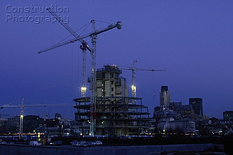Construction of City Hall Greater London Authority GLA Building by Tower Bridge South Bank Southwark