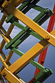 Detail of mechanical bellows on scissor lift.