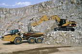 Caterpillar 735 articulated dumper truck and Caterpillar 365BL ME crawler excavator.