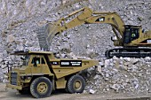 Caterpillar 771C rigid dumper truck and Caterpillar crawler excavator.