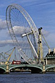 Erection of London Eye Millennium Wheel. London, United Kingdom. Designed by David Marks and Julia Barfield.