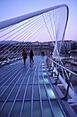 Zubizuri footbridge over the Nervion river, Bilbao, Spain. Access to Guggehheim Museum. Bridge designed by Santiago Calatrava.