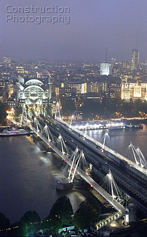 Hungerford Bridge is the only London crossing to combine rail and foot traffic The two multispan foo