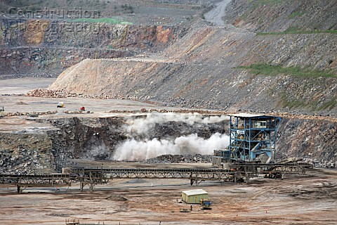 Quarry blast a the Torr Works Yeoman quarry in Shepton Mallet England one of the largest quarry in t