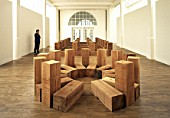 Wooden art installation by American minimalist sculptor Carl Andre. Whitechapel Gallery. London, United Kingdom.