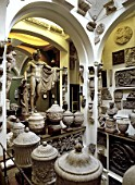 Large collection of sculpted urns and pots. Sir John Soanes  Museum. London. United Kingdom.