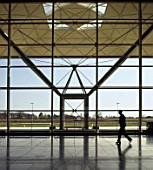 Interior of Stansted Airport passenger terminal. Essex, United Kingdom. Designed by Foster and Partners.