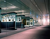 Display cases at Crescent Wing of the Sainsbury Centre