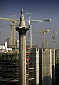 Nelson column dominates the construction progress in Whitehall, London