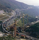Construction of Ting Kau Bridge Approach. Tung Mung Road, Hong Kong, China.