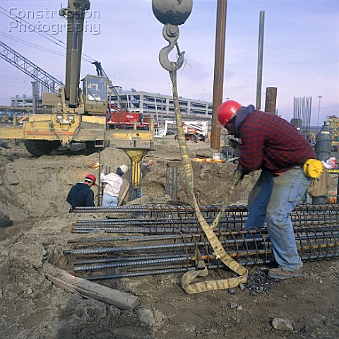 Fixing crane sling for reinforcement cage for a pile Kennedy airport New York USA