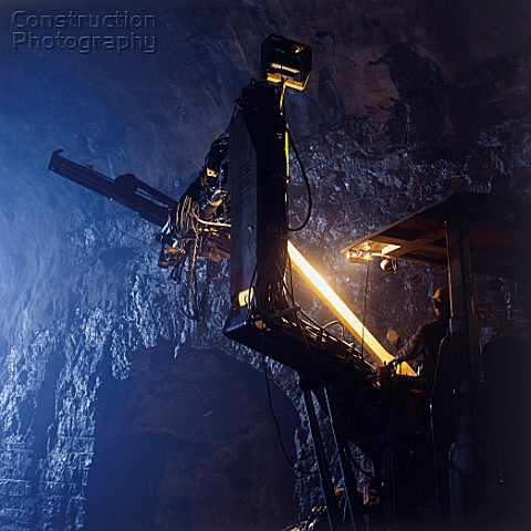 Atlas Copco Jumbo Drill Rig fixing rock anchors in pumphouse cavern Yellow River Water Transfer sche