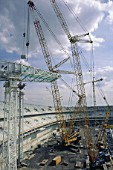 Construction of the Stade de France steel roof.
