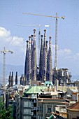 Construction of the Sagrada Familia cathedral. Barcelona, Catalunya, Spain. Cathedral designed by Antoni Gaudi.