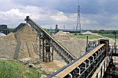 Aggregates production. View of conveyor belt, Surrey, UK.