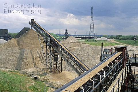 Aggregates production View of conveyor belt Surrey UK