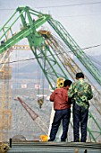 Surveyors working on the Three Gorges dam, China