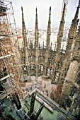 Construction of hollow stone columns with reinforcement for concrete. Sagrada Familia Cathedral. Designed by Antoni Gaudi. Barcelona, Catalunya, Spain.