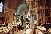Basement workshop at the Sagrada where Plaster of Paris scale models are worked up to assess and modify the design of the complex organic shapes in the tree like columns and curving roof spaces of the Sagrada Familia, Barcelona, Spain