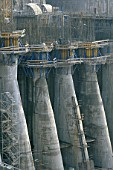 Giant intake structures for the underground hydroelectric power station at Xiaolangdi dam on the Yellow River in China.