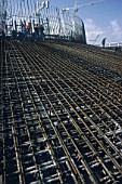 Dense reinforcement installed in dry dock for foot of bridge piers on the Rion-Antirion bridge Greece, later floated out.