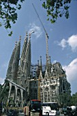 Construction of Sagrada Familia. Barcelona, Catalunya, Spain. Cathedral designed by Antoni Gaudi.