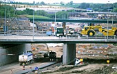 Construction of the M6 toll road, north of Birmingham, Midlands, England, UK.