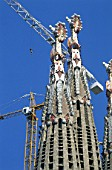 Construction of the Sagrada Familia cathedral. Barcelona, Catalunya, Spain. Cathedral designed by Antonio Gaudi.