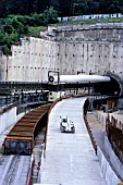 A86 Paris outer-ring-road, tunnel section, near Versailles with retaining concrete wall.