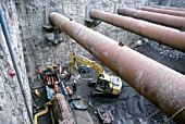 Huge steel tubular struts support a deep excavation on the Dublin Port tunnel works in Ireland