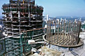 Heavy reinforcement in concrete columns for the two Petronas towers during construction in Kuala Lumpur, Malaysia