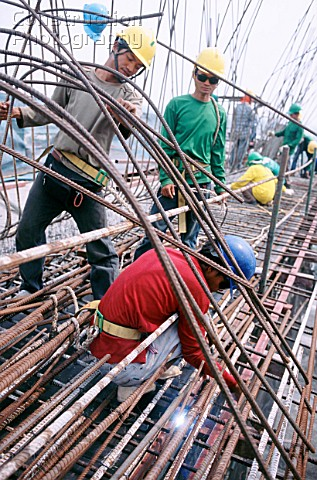 Welding reinforcement for the deck concreting on the two cable stay bridges Mega Bridge Bangkok Thai