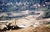 Earthmoving works near the tunnel entrance include a big embankment, A41 autoroute France