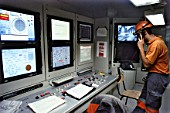 Inside the control room on the Herrenknecht TBM which has made good progress through the Alpine molasse and is 500m into the second 3100m long drive, A41 autoroute France