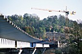 Viaduct work at the south end with a Potain tower crane at work, A41 autoroute France