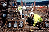 Adjusting reinforcement of the complex bridge pier top section cage, Upper Forth bridge